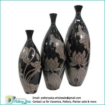 Decorative vases lotus pattern, black color, oblong shape