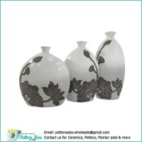 Ornamental ceramic vase oval with small spout, lotus white