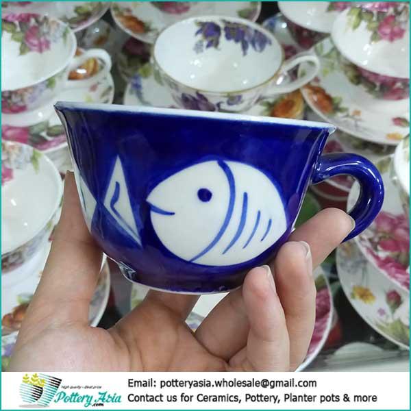 Porcelain tea cup with saucer fish printing. Sản phẩm ly cốc tách gốm sứ Việt Nam xuất khẩu