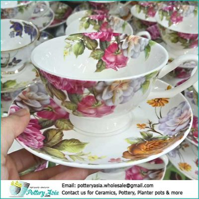Porcelain tea cup with saucer flower printing