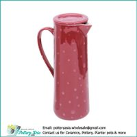 Tall ceramic water jug slim shape with lid, polka dots red color