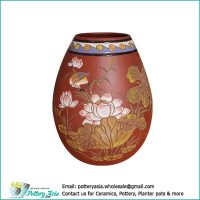 Terracotta vase egg shape, lotus carving pattern