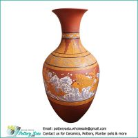 Terracotta vase traditional shape, hand-drawing pattern